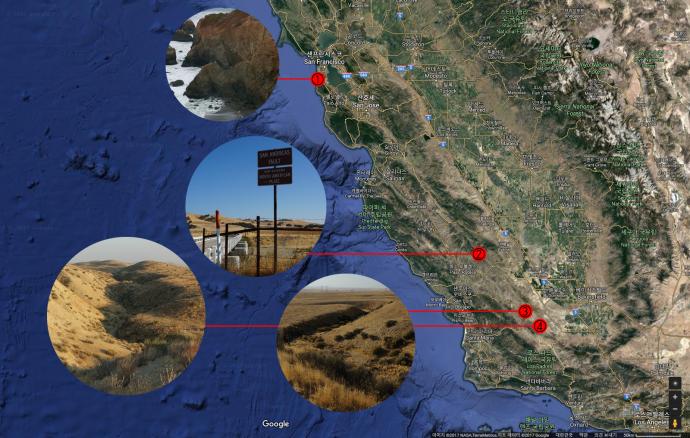구글 지도에 홍합바위와 파크필드 지역, 커리조 평원 단층을 표시했다. 샌 안드레아스 단층을 따라 답사 지역이 일렬로 늘어서 있다.
